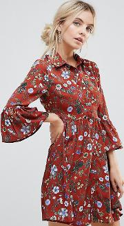 Floral Skater Dress With Button Front