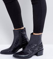 Marja Black Leather Croc Effect Ankle Boots