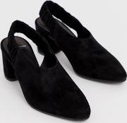 Tracy Black Suede Slingback Block Heeled Shoes