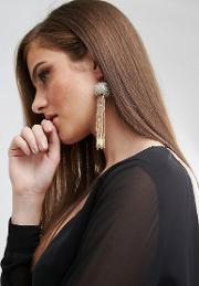 tassel drop earrings  cream and gold with  plated hook