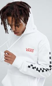 heritage hoodie with arm print  white