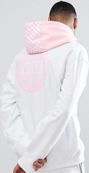 oversized hoodie with back print  white exclusive to asos