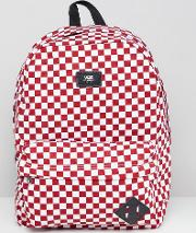 red checkerboard backpack