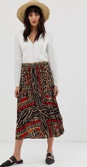 Animal Scarf Print Pleated Midi Skirt