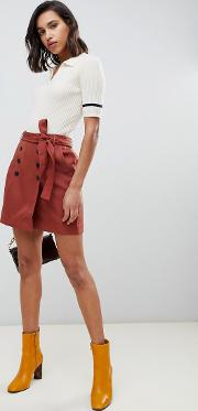 Button Front Belted Kilt Mini Skirt