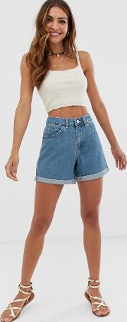 High Waist Denim Mom Short