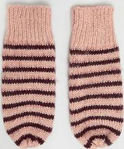 knitted striped mittens