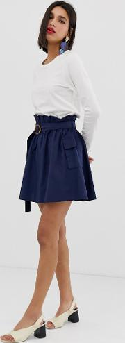 Linen Utility Skirt With Pockets
