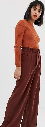 Belted High Waist Wideleg Trouser