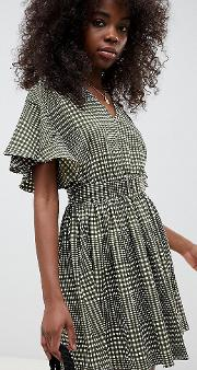 Check Belted Mini Dress