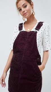 Mini Pinafore Dress Deep Purple