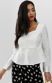 Square Neck Peplum Shirt