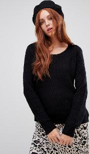 Round Neck Jumper With Curved Hem