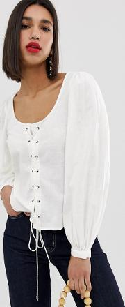 Square Neck Volume Sleeve Blouse