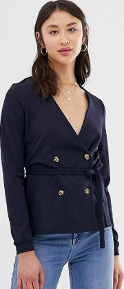 Double Breasted Belted Blouse