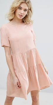 tiered ruffle smock dress