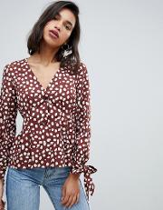 Volume Sleeve Smudge Print Blouse