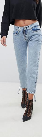 mom jeans with exposed zip