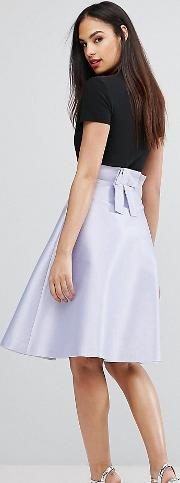 Bonded Satin Prom Skirt With Bow Back