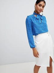 Floral Long Sleeve Tie Neck Blouse