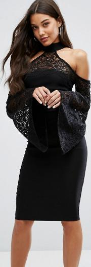 High Neck Midi Dress With Lace Detail And Exaggerated Bell Sleeve