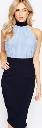 high neck pencil dress with blouson top