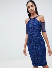 Lace Pencil Dress With Short Sleeve