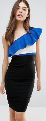 One Shoulder Pencil Dress With Contrast Frill