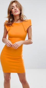 Pencil Dress With Origami Shoulders