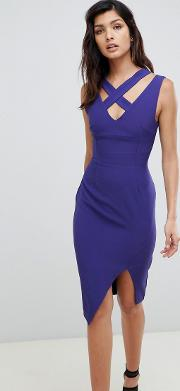 Wrap Front Midi Dress With Cut Out Detail