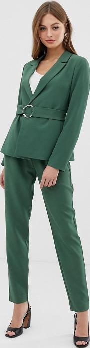 Belted Paperbag Waist Tapered Trouser