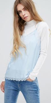 cami top with high neck  layer