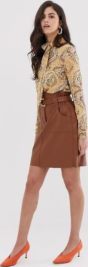 Faux Leather Paper Bag Waist Skirt