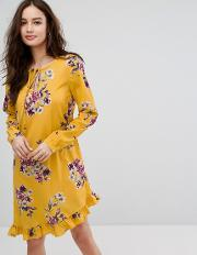 floral printed dress with frill hem