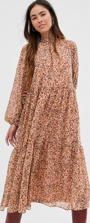 High Neck Paisley Maxi Dress