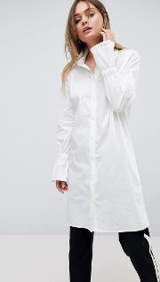 Longline Shirt With Fluted Sleeve