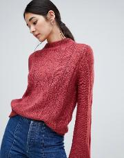 Open Knit Cable High Neck Jumper