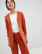 Pin Stripe Ruche Sleeve Tailored Jacket