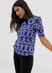 Printed High Neck Blouse With Bow