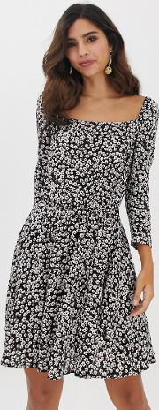 Square Neck Ditsy Floral Dress