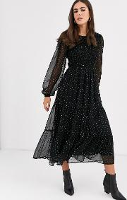 Tiered Floral Maxi Smock Dress