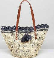 Natural And Navy Spotted Straw Beach Tote