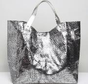 woven pewter beach tote bag