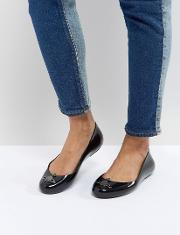 black space love flat shoes