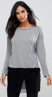 knit top with mesh trim