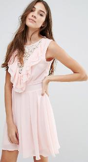 lace insert skater dress with ruffles