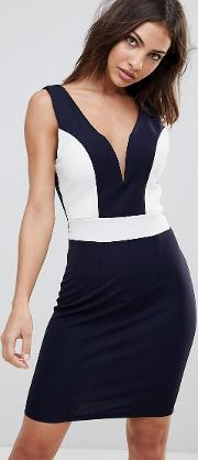 midi dress with deep sweetheart neckline and contrast panels