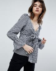 katherine gingham tie front blouse