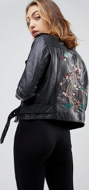 Lin Real Leather Embroidered Jacket