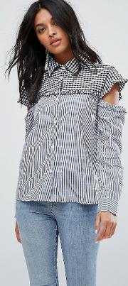 marvin cut out sleeve gingham stripe shirt